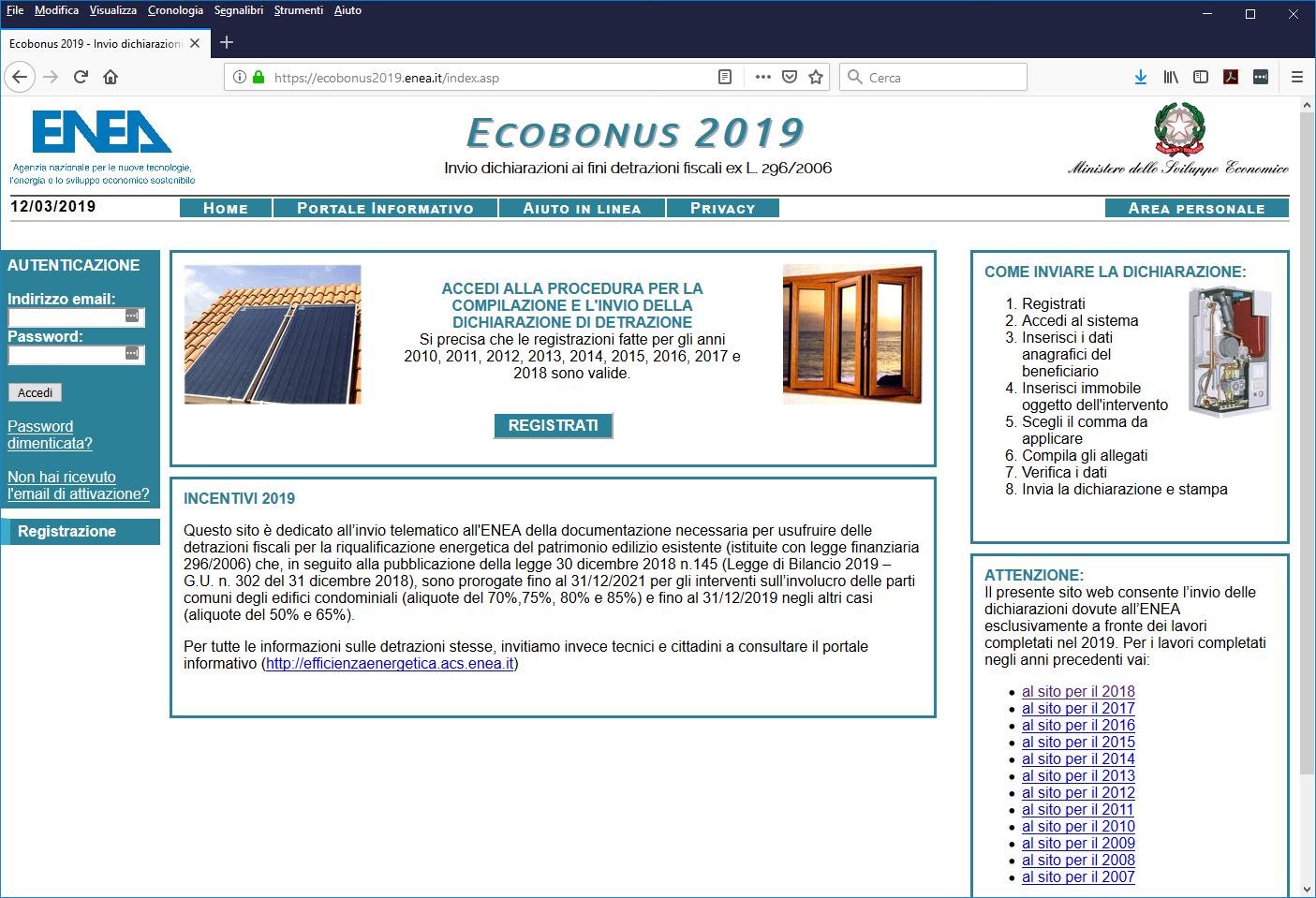 Online il portale ENEA per gli incentivi 2019